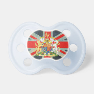 Union Jack Coat of Arms Baby Pacifier (Blue)