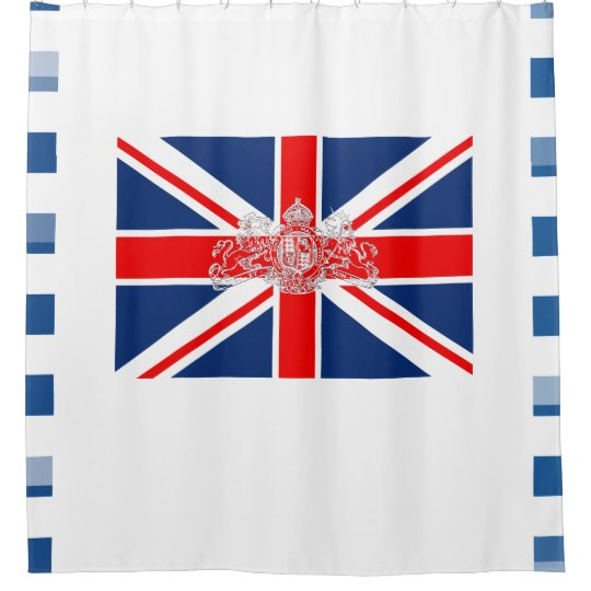 Union Jack Coat Of Arms With Block Side Border Shower Curtain