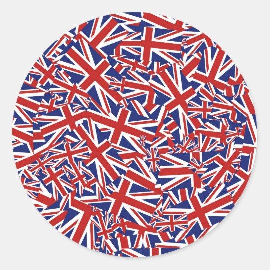 Union Jack Collage Classic Round Sticker