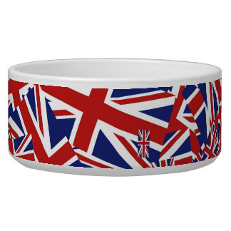 Union Jack Collage Dog Food Bowls