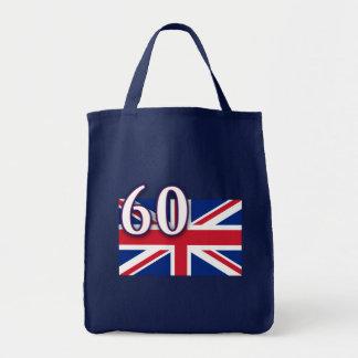 Union Jack con 60 para el jubileo de diamante Bolsas