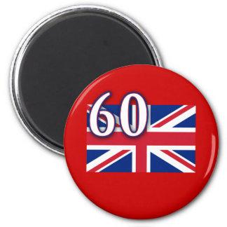 Union Jack con 60 para el jubileo de diamante Imán Redondo 5 Cm