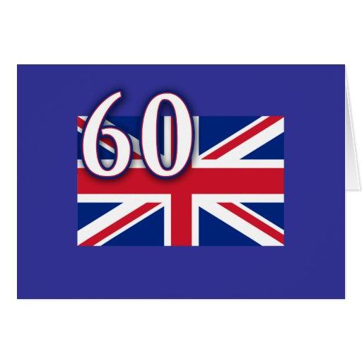 Union Jack con 60 para el jubileo de diamante Tarjeta De Felicitación