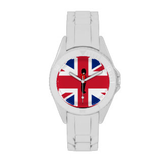 Union Jack con el reloj del guardia de Londres