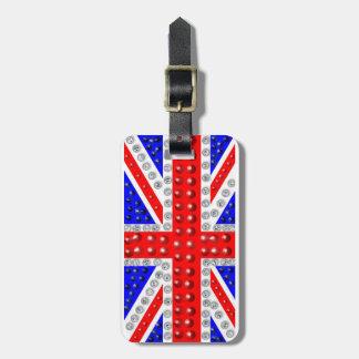 """Union Jack """"con lentejuelas"""" Etiquetas Maletas"""