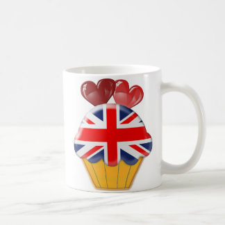 Union Jack Cupcake and Hearts Coffee Mug