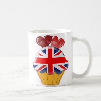 Union Jack Cupcake and Hearts Coffee Mug