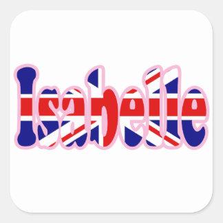 Union Jack cutout Isabelle Square Sticker