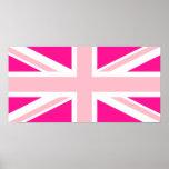 Union Jack de color rosa oscuro Póster