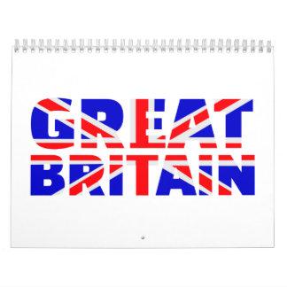 Union Jack de la bandera de Gran Bretaña Calendarios