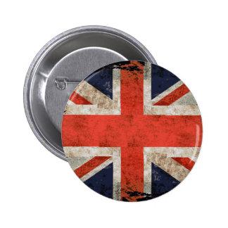 Union Jack destrozado envejecido Pin Redondo 5 Cm
