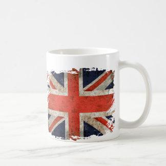 Union Jack destrozado envejecido Tazas De Café