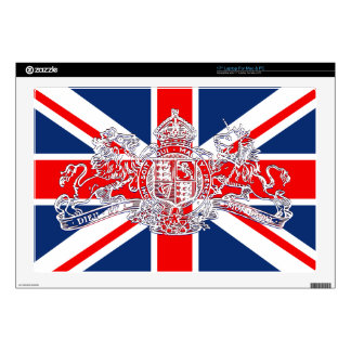 Union Jack Dieu et Mon Droit British Coat of Arms Laptop Decals