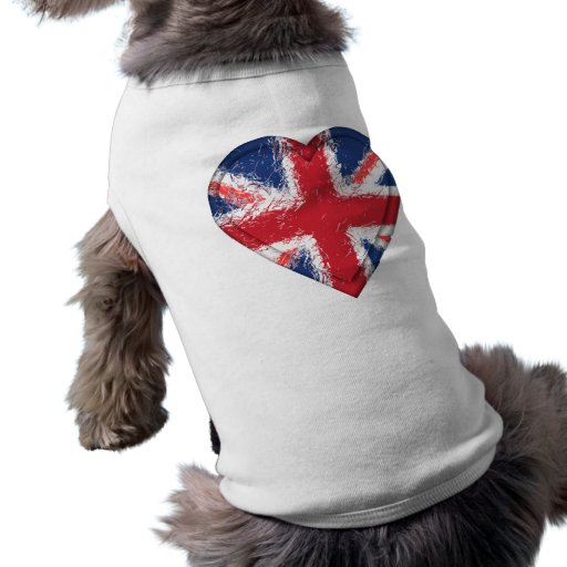Union Jack distressed heart flag - Great Britain Dog T Shirt