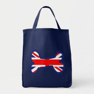 Union Jack Dog Bone Art Grocery Tote Bag