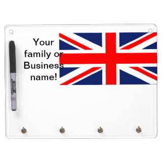 Union Jack Dry Erase Board With Keychain Holder