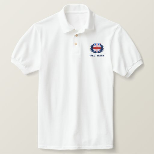 Union jack embroidered design embroidered polo shirt