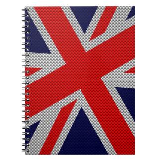 Union Jack en la impresión del estilo de la fibra Cuadernos