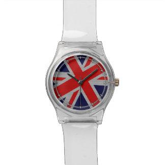 Union Jack en la impresión del estilo de la fibra Relojes
