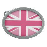 Union Jack en los rosas Hebilla Cinturon Oval