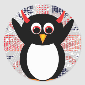 Union Jack Evil Penguin Classic Round Sticker