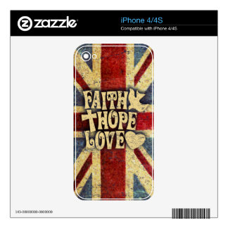 Union jack faith, love and hope distressed art. decals for iPhone 4