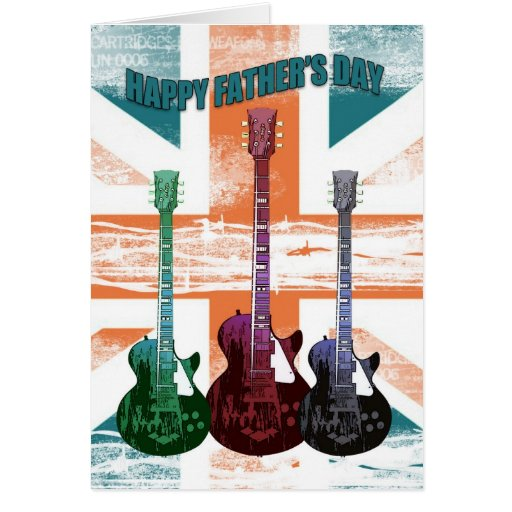 Union Jack Father's Day Card With Guitars