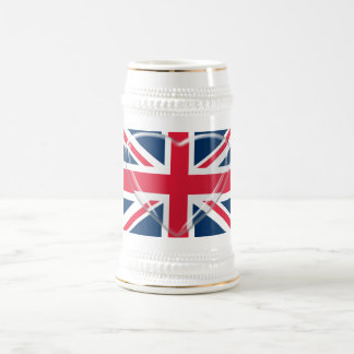 Union Jack Flag and Glass Heart Art Beer Stein