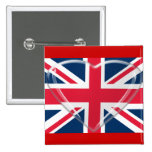 Union Jack Flag and Glass Heart Art Pinback Buttons