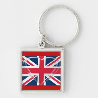 Union Jack Flag and Glass Heart Art Keychain