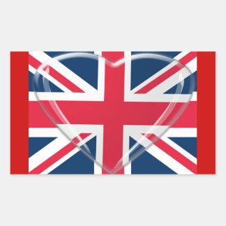 Union Jack Flag and Glass Heart Art Rectangular Sticker
