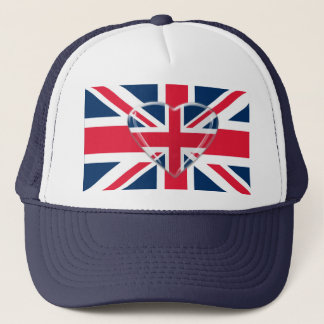 Union Jack Flag and Heart Art Trucker Hat
