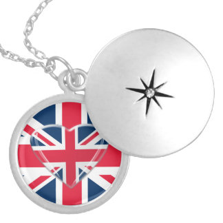 Union Jack Flag and Heart Necklace