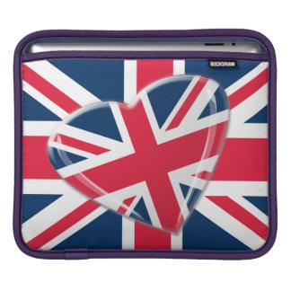 Union Jack flag and Heart Rickshaw Sleeve iPad Sleeves