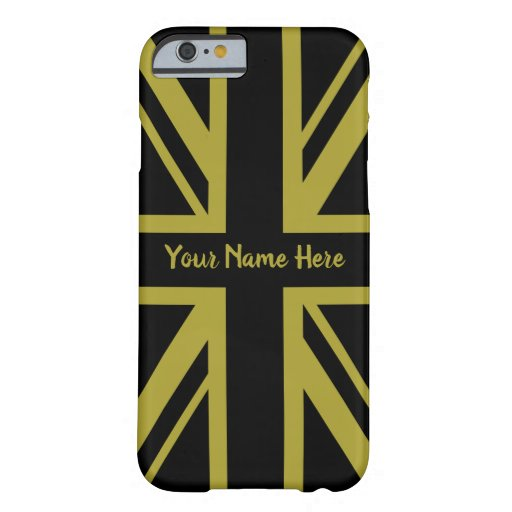 Union Jack/Flag Black and Gold Design (Custom) Barely There iPhone 6 Case
