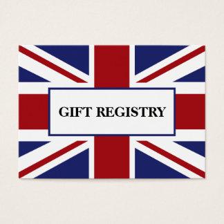 Union Jack Flag British Wedding Gift Registry Business Card