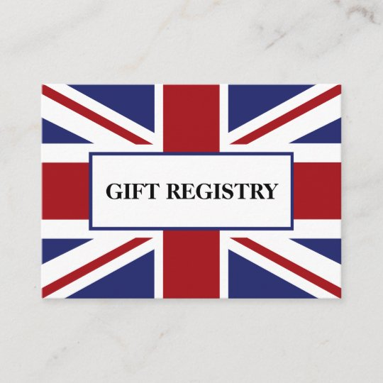 Union Jack Flag British Wedding Gift Registry Enclosure Card