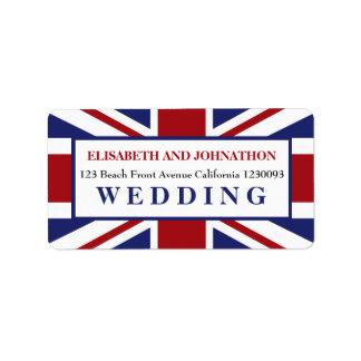 Union Jack Flag British Wedding Label
