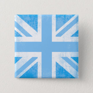 Union jack flag button badge in boy blue hues