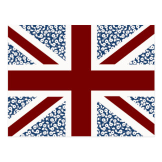 Union Jack Flag Calico Floral Pattern Post Cards