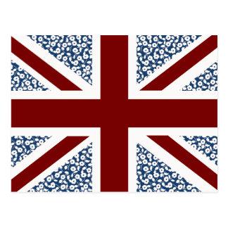Union Jack Flag Calico Floral Pattern Postcard