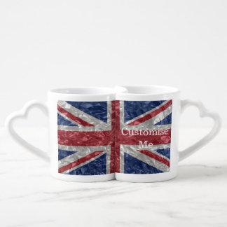 Union Jack Flag - Crinkled Couples' Coffee Mug Set