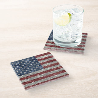 Union Jack Flag - Crinkled Glass Coaster