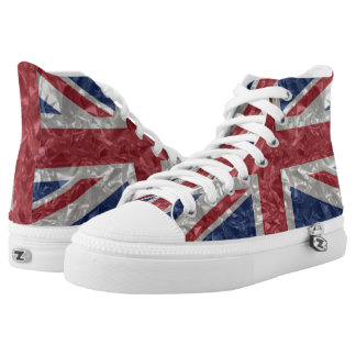 Union Jack Flag - Crinkled High-Top Sneakers