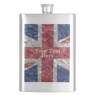 Union Jack Flag - Crinkled Hip Flasks