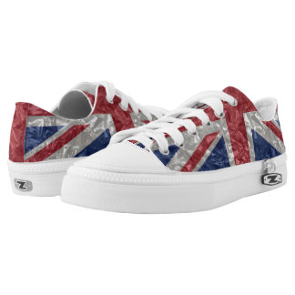 Union Jack Flag - Crinkled Low-Top Sneakers