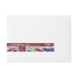 Union Jack Flag - Crinkled Wrap Around Address Label