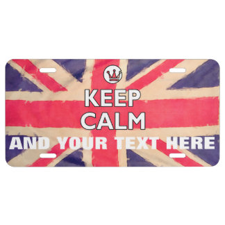 UNION JACK FLAG grunge / KEEP CALM + your text License Plate
