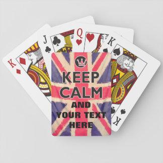 UNION JACK FLAG grunge / KEEP CALM + your text Card Decks