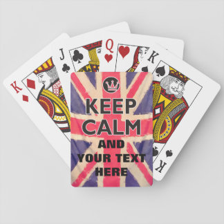 UNION JACK FLAG grunge / KEEP CALM + your text Playing Cards